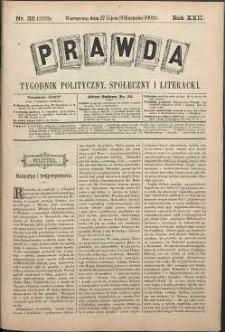 Prawda : tygodnik polityczny, społeczny i literacki, 1902, R. 22, nr 32