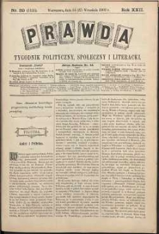 Prawda : tygodnik polityczny, społeczny i literacki, 1902, R. 22, nr 39