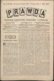 Prawda : tygodnik polityczny, społeczny i literacki, 1901, R. 21, nr 2