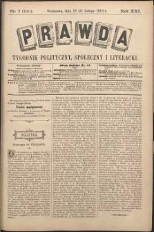Prawda : tygodnik polityczny, społeczny i literacki, 1901, R. 21, nr 7