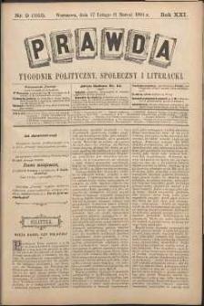 Prawda : tygodnik polityczny, społeczny i literacki, 1901, R. 21, nr 9
