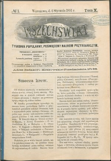 Wszechświat : Tygodnik popularny, poświęcony naukom przyrodniczym, 1891, T. 10, nr 1