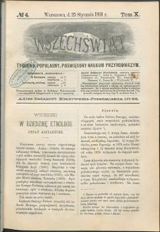 Wszechświat : Tygodnik popularny, poświęcony naukom przyrodniczym, 1891, T. 10, nr 4