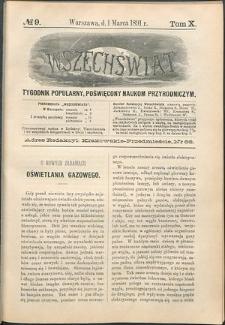 Wszechświat : Tygodnik popularny, poświęcony naukom przyrodniczym, 1891, T. 10, nr 9