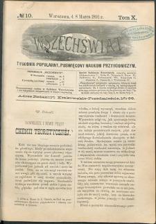 Wszechświat : Tygodnik popularny, poświęcony naukom przyrodniczym, 1891, T. 10, nr 10