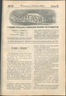 Wszechświat : Tygodnik popularny, poświęcony naukom przyrodniczym, 1891, T. 10, nr 13