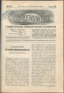 Wszechświat : Tygodnik popularny, poświęcony naukom przyrodniczym, 1891, T. 10, nr 14