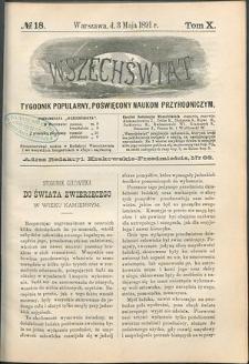 Wszechświat : Tygodnik popularny, poświęcony naukom przyrodniczym, 1891, T. 10, nr 18