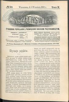 Wszechświat : Tygodnik popularny, poświęcony naukom przyrodniczym, 1891, T. 10, nr 36