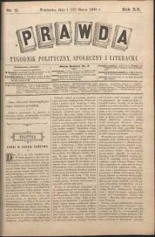 Prawda : tygodnik polityczny, społeczny i literacki, 1900, R. 20, nr 11