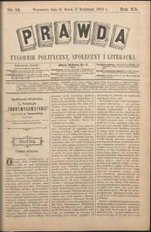 Prawda : tygodnik polityczny, społeczny i literacki, 1900, R. 20, nr 14