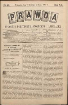 Prawda : tygodnik polityczny, społeczny i literacki, 1900, R. 20, nr 18