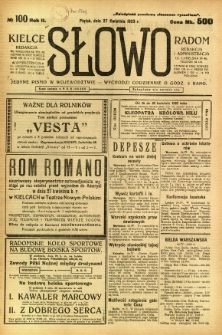 Słowo, 1923, R. 2, nr 100