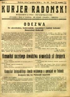 Kurier Radomski, 1939, R. 1, nr 22