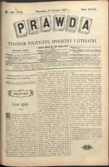 Prawda : tygodnik polityczny, społeczny i literacki, 1907, R. 27, nr 24