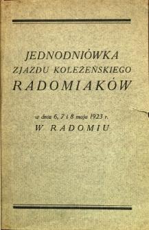 Jednodniówka Zjazdu Koleżeńskiego Radomiaków w dniu 6, 7 i 8 maja 1923 r. w Radomiu