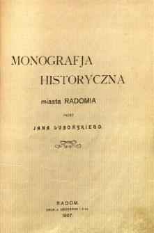 Monografja historyczna miasta Radomia