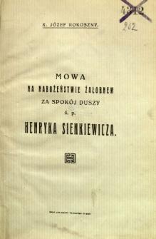 Mowa na nabożeństwie żałobnem za spokój duszy ś.p. Henryka Sienkiewicza