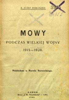 Mowy podczas wielkiej wojny 1915-1920