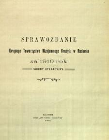 Sprawozdanie Drugiego Towarzystwa Wzajemnego Kredytu w Radomiu za rok 1910