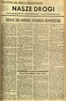 Ziemia Radomska, 1933, R. 6, nr 85 - dodatek Nasze Drogi nr 6