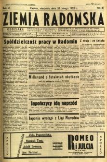Ziemia Radomska, 1933, R. 6, nr 47