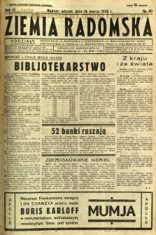 Ziemia Radomska, 1933, R. 6, nr 60