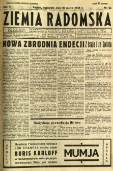 Ziemia Radomska, 1933, R. 6, nr 62