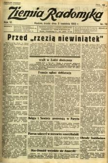 Ziemia Radomska, 1933, R. 6, nr 79