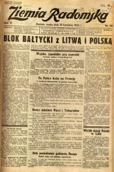 Ziemia Radomska, 1933, R. 6, nr 89