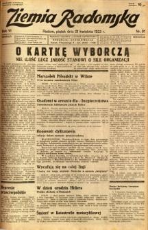 Ziemia Radomska, 1933, R. 6, nr 91