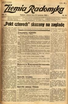 Ziemia Radomska, 1933, R. 6, nr 92