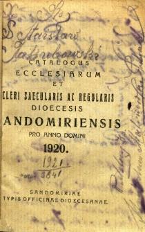 Catalogus ecclesiarum et cleri saecularis ac regularis dioecesis sandomiriensis pro anno domini 1920