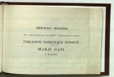 Pierwszy dodatek do krótkiego zarysu historycznego Zakładów Naukowych Żeńskich Marji Gajl w Radomiu