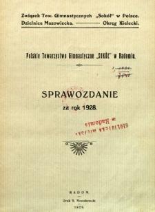 """Polskie Towarzystwo Gimnastyczne """"Sokół"""" w Radomiu : sprawozdanie za rok 1928"""