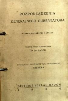 Rozporządzenia Generalnego Gubernatorstwa : wydanie na luźnych kartach