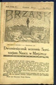 Brzask: Dwumiesięcznik uczennic Seminarium Nauczycielskiego w Mariówce, 1930, R. (8) 4, nr (31) 15