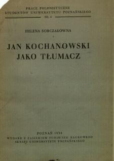 Jan Kochanowski jako tłumacz