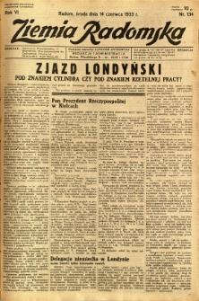 Ziemia Radomska, 1933, R. 6, nr 134