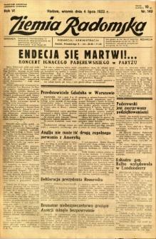 Ziemia Radomska, 1933, R. 6, nr 149