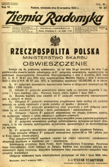 Ziemia Radomska, 1933, R. 6, nr 207