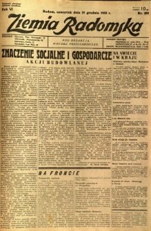 Ziemia Radomska, 1933, R. 6, nr 291