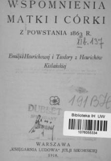 Wspomnienia matki i córki z powstania 1863 r.