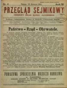 Przegląd Sejmikowy : Urzędowy Organ Sejmiku Radomskiego, 1932, R. 11, nr 4