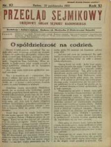 Przegląd Sejmikowy : Urzędowy Organ Sejmiku Radomskiego, 1932, R. 11, nr 10
