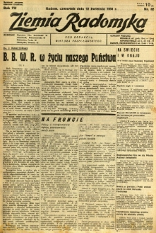 Ziemia Radomska, 1934, R. 7, nr 82