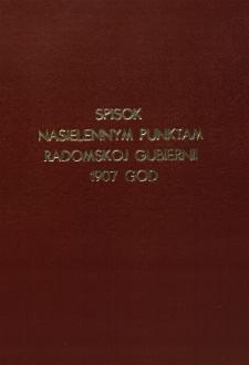 Spisok nasielennym punktam Radomskoj Gubiernii 1907 god