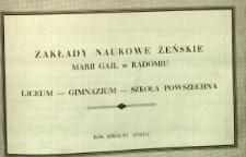 Zakłady Naukowe Żeńskie Marji Gajl : liceum, gimnazjum, szkoła powszechna : rok szkolny 1936/1937