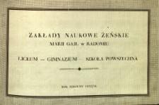 Zakłady Naukowe Żeńskie Marji Gajl : liceum, gimnazjum, szkoła powszechna : rok szkolny 1937/1938