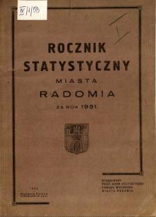 Rocznik statystyczny miasta Radomia za rok 1931